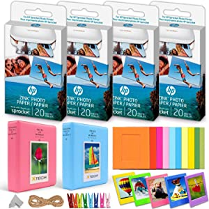 4 Pack HP Sprocket Photo Paper (80 Sticky-Backed Sheets Total) + Accessories Kit for HP Sprocket Portable Photo Printer, 2 Photo Albums, 10 Paper Frames, 10 Plastic Frames, Hanging Clips/String