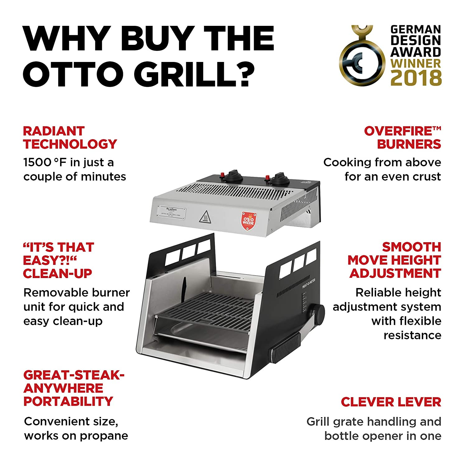 Amazon.com: The Original Otto 1500°F parrilla de vapor con ...