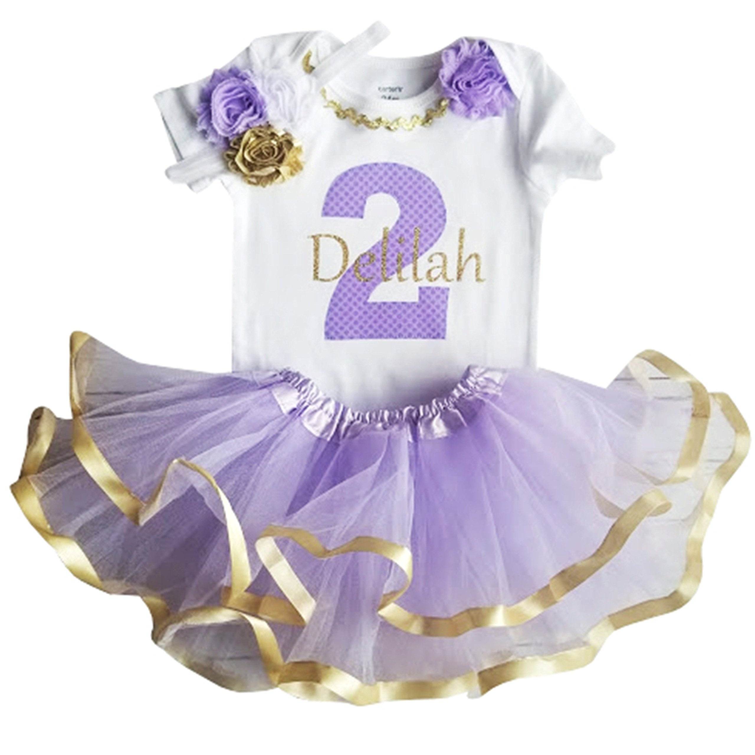 Perfect Pairz 2nd Birthday Outfit Baby Girl Tutu Personalized(2T Short Sleee) by Perfect Pairz