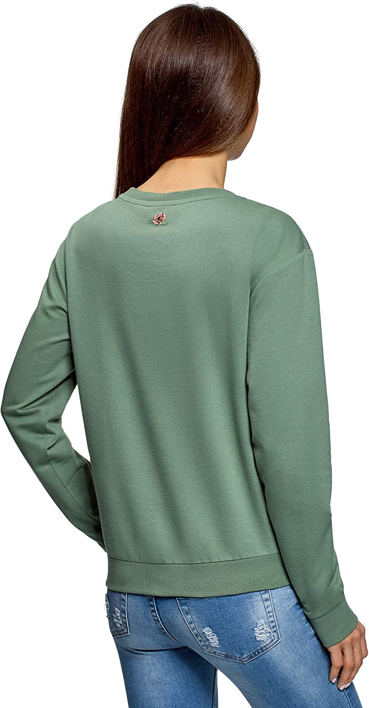 oodji Ultra Femme Sweat-Shirt en Coton avec Imprim/é et Paillettes