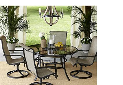 Amazon Com Outdoor 5pc Motion Dining Set Table Slingback Chairs