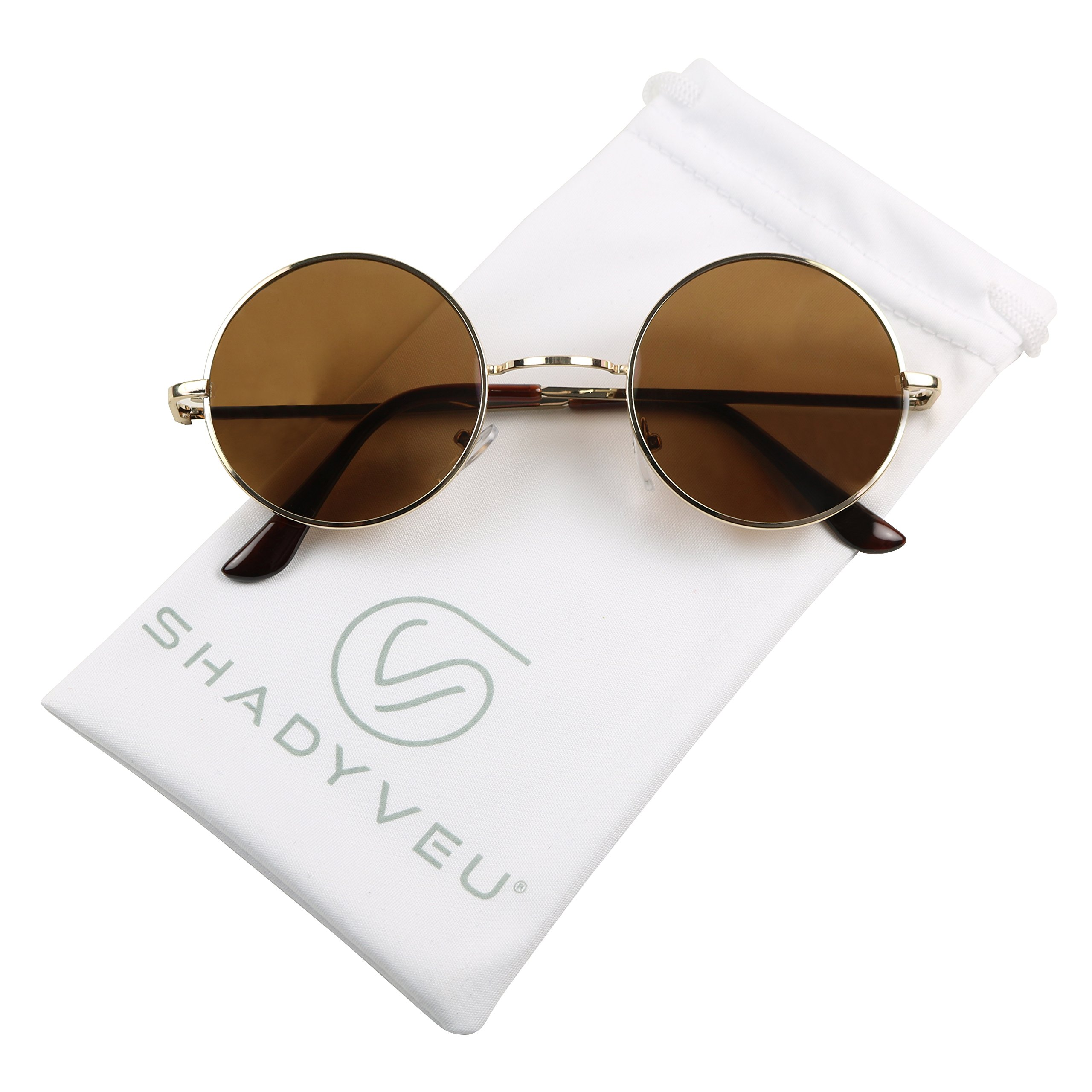 ShadyVEU - Retro Colorful Tint Lennon Style Round Groovy Hippie Wire Sunglasses (Brown Lens, 50) by ShadyVEU