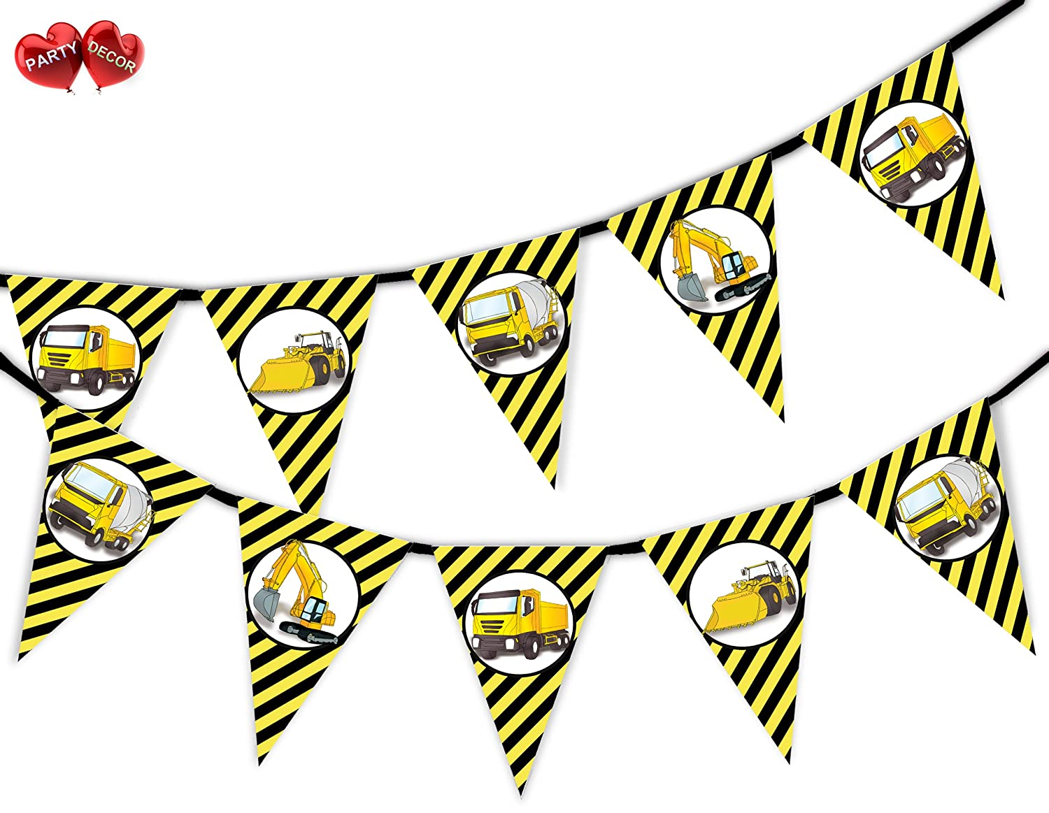Construction Plant Vehicles Machines Bunting Banner 15 flags by PARTY DECOR
