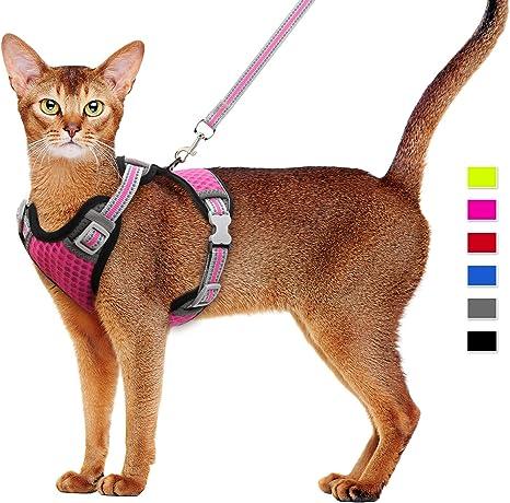 Supet Juego de arnés y Correa para Gatos Arnés para Gatos Arnés de Malla Suave Arnés para Chaleco Ajustable para Gatos con Correa Reflectante