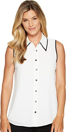 4691fdfe80f Vince Camuto Womens Sleeveless Button Down Collared Blouse w/ Contrast New  Ivory SM One Size