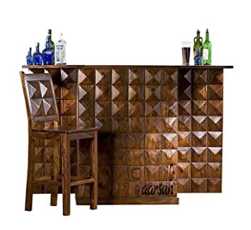 Aarsun Woods Sheesham Handmade Modern Style Wooden Bar Cabinet / Wine Bar Without Chair