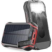 Solar PowerBank 26800mAh Cargador Solar, QI Carga inalámbrico, batería Externa de 4 Puertos (USB/QI), Carga rápida 3.1A…