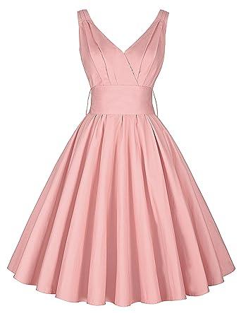 fe47bcffb68 robe rose genou longueur jupon robe vintage rétro robe dames robes de fête  XS CL8955-