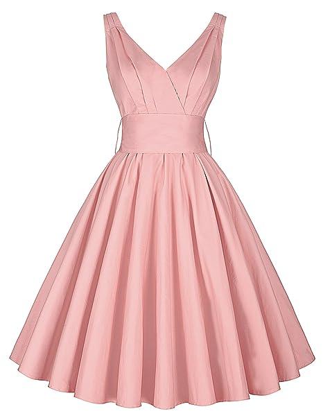 vestido rosa vestido largo de la enagua hasta la rodilla vestido retro vintage damas vestidos festivos. Pasa el ratón por ...