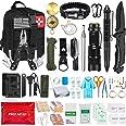 AOKIWO 126Pcs Emergency Survival Kit Professional Survival Gear Tool First Aid Kit SOS Emergency Survival Kit with Molle Pouc
