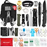 Aokiwo 200Pcs Emergency Survival Kit and First Aid Kit Professional Survival Gear SOS Emergency Tool with Molle Pouch for Cam