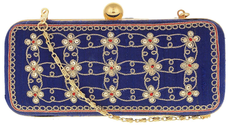 Sneha Women's Silk Ethnic Clutch (Navy Blue) (Sbn1039)