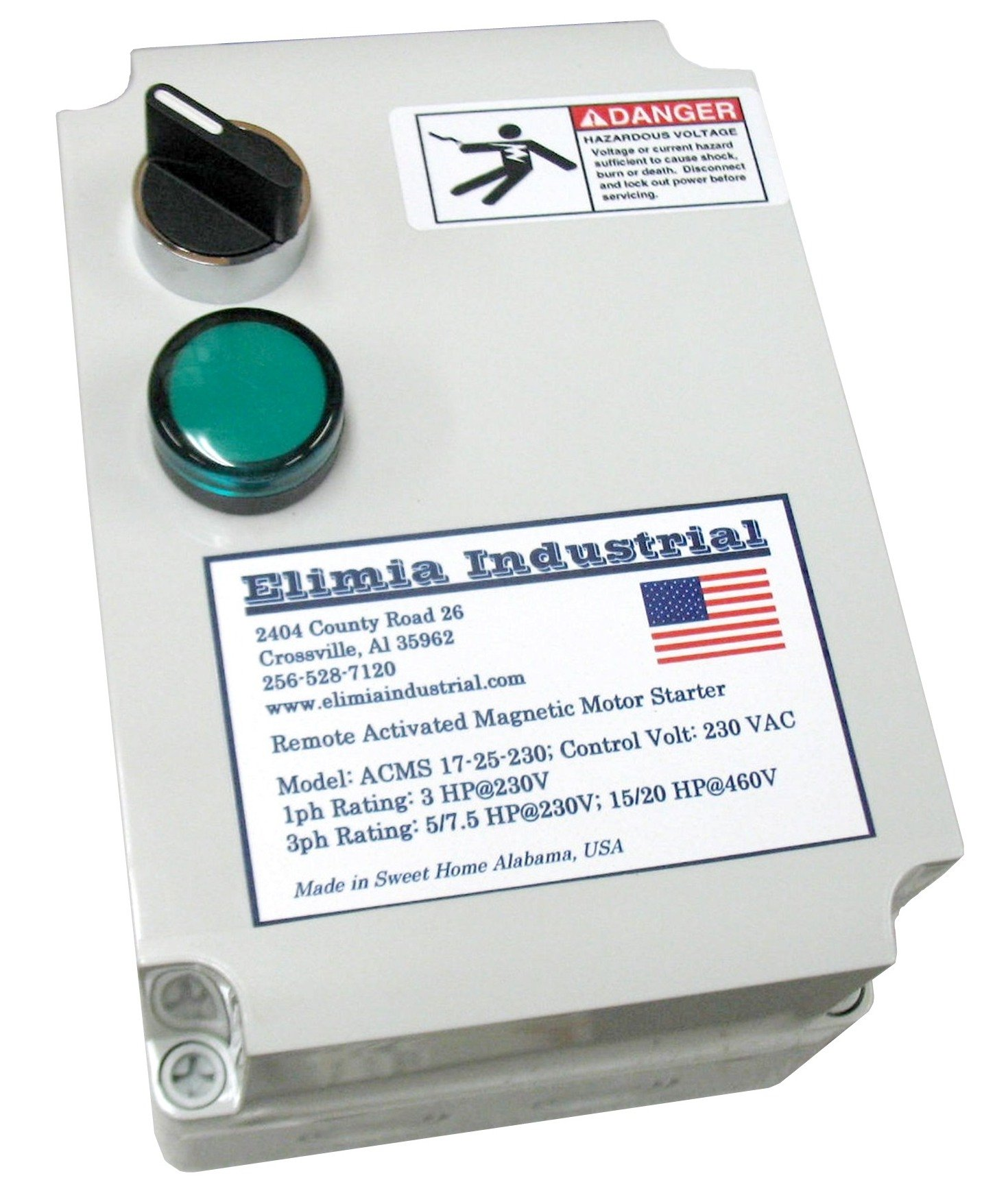 Elimia Air Compressor Motor Starter, Three Phase, 10 HP, 230V, Nema 4X, 23-32 Amp Overload, Made in USA