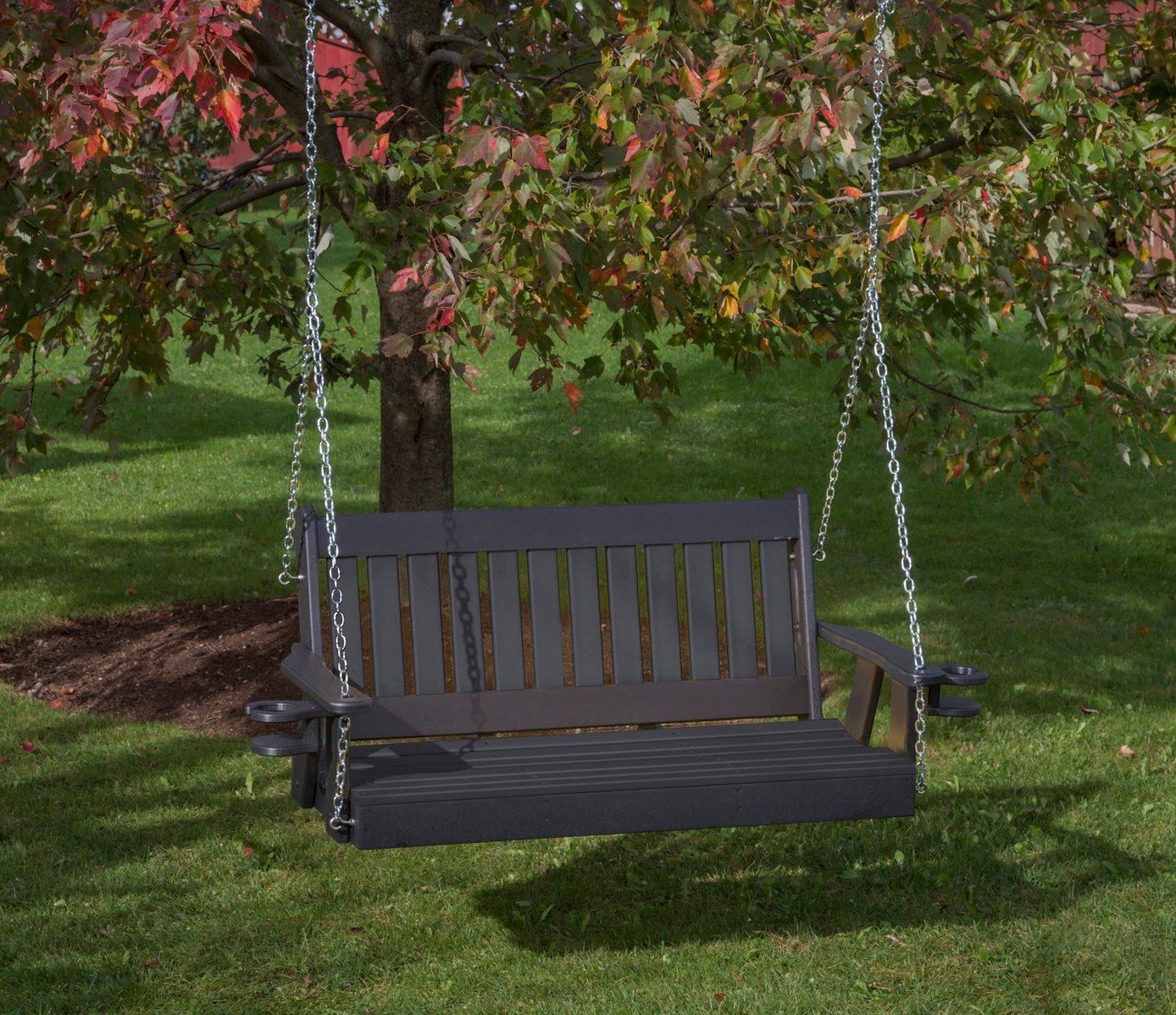 Ecommersify Inc 4FT-Black-Poly Lumber Mission Porch Swing with Cupholder arms Heavy Duty Everlasting PolyTuf HDPE – Made in USA – Amish Crafted
