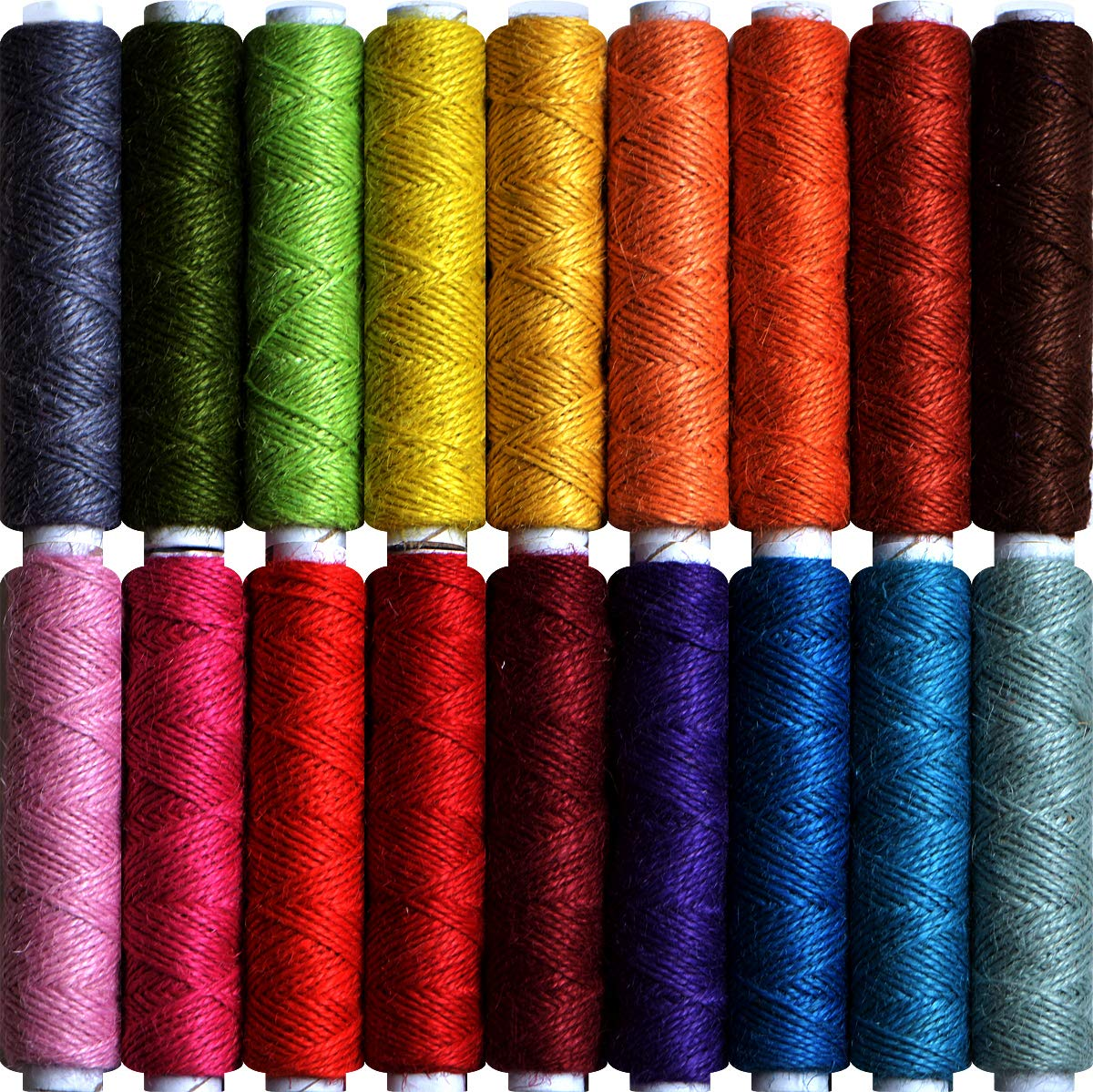 Jute Twine- Thick Jute String Rope-Natural Garden Twine-2mm Jute Twine String Hemp Rolls 18 Colors,1605 Feet (535 Yards) Each for Gardening, Bundling, Gifts, Decoration, DIY Crafts by LE PAON