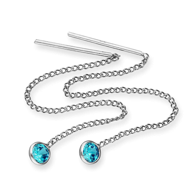 Sterling Silver & Round CZ Crystal Birthstone Pull Thru Earrings jewellerybox BKT-106