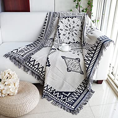Dulcii Scandinavian Double Sided Knitted Multi-Function Throw Blanket Tapestry with Decorative Tassels for Sofa Bed Chair Couch Cover, Super and Lightweight, 51 X 71 Inches/130x180cm (Royal Rhombus)