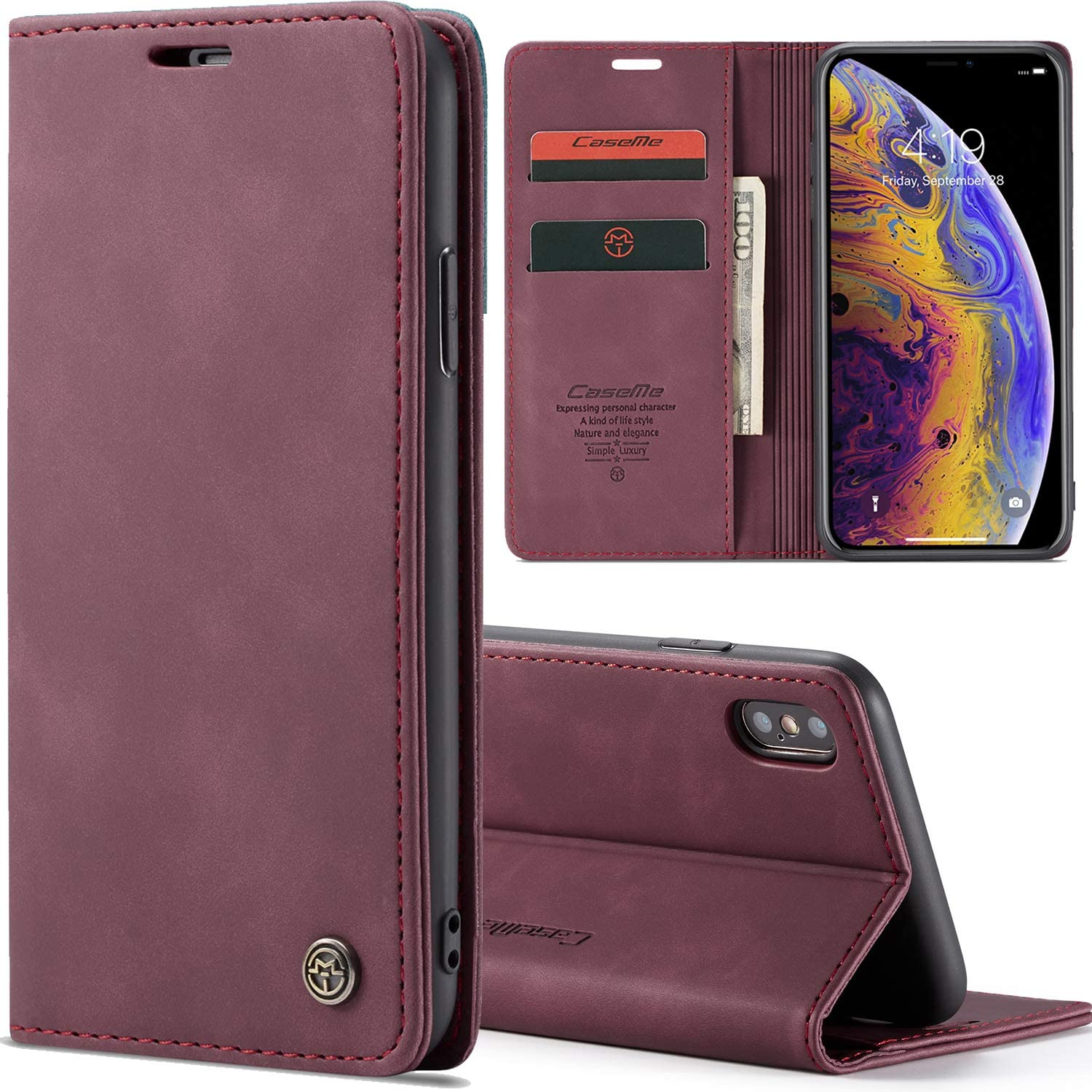 XRPow Slim Folio Leather Wallet Card Holder Case for iPhone 7 Plus/iPhone 8 Plus 5.5inch with Kickstand Magnetic Flip Potective Cover (Red)