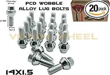 ALLOY WHEEL BOLTS 5 X M14X1.5 CHROME 60° 50mm THREAD FIT SKODA MODELS SEE LIST
