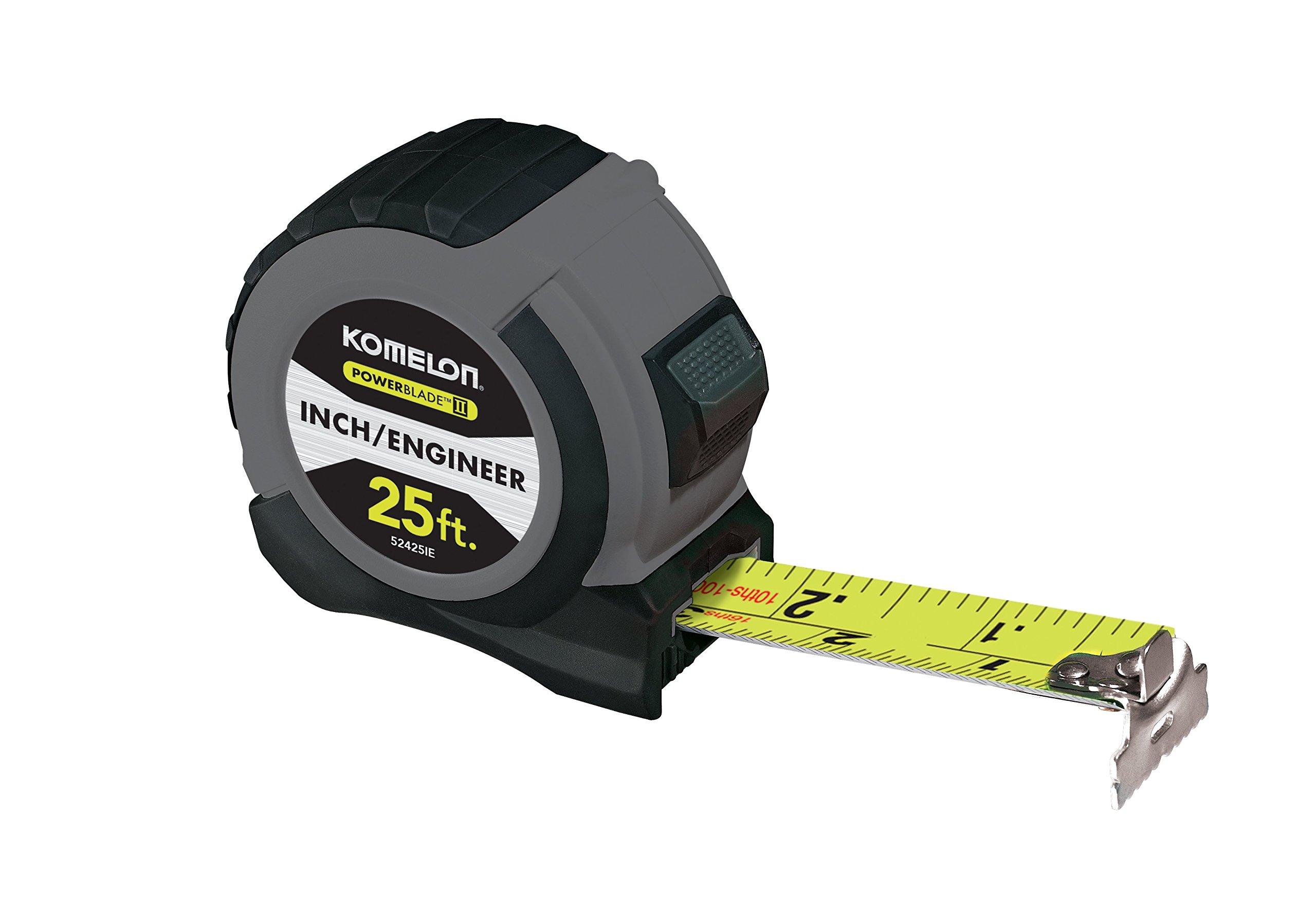 Komelon 52425IE Powerblade II Inch Engineer Tape Measure, Grey/Black
