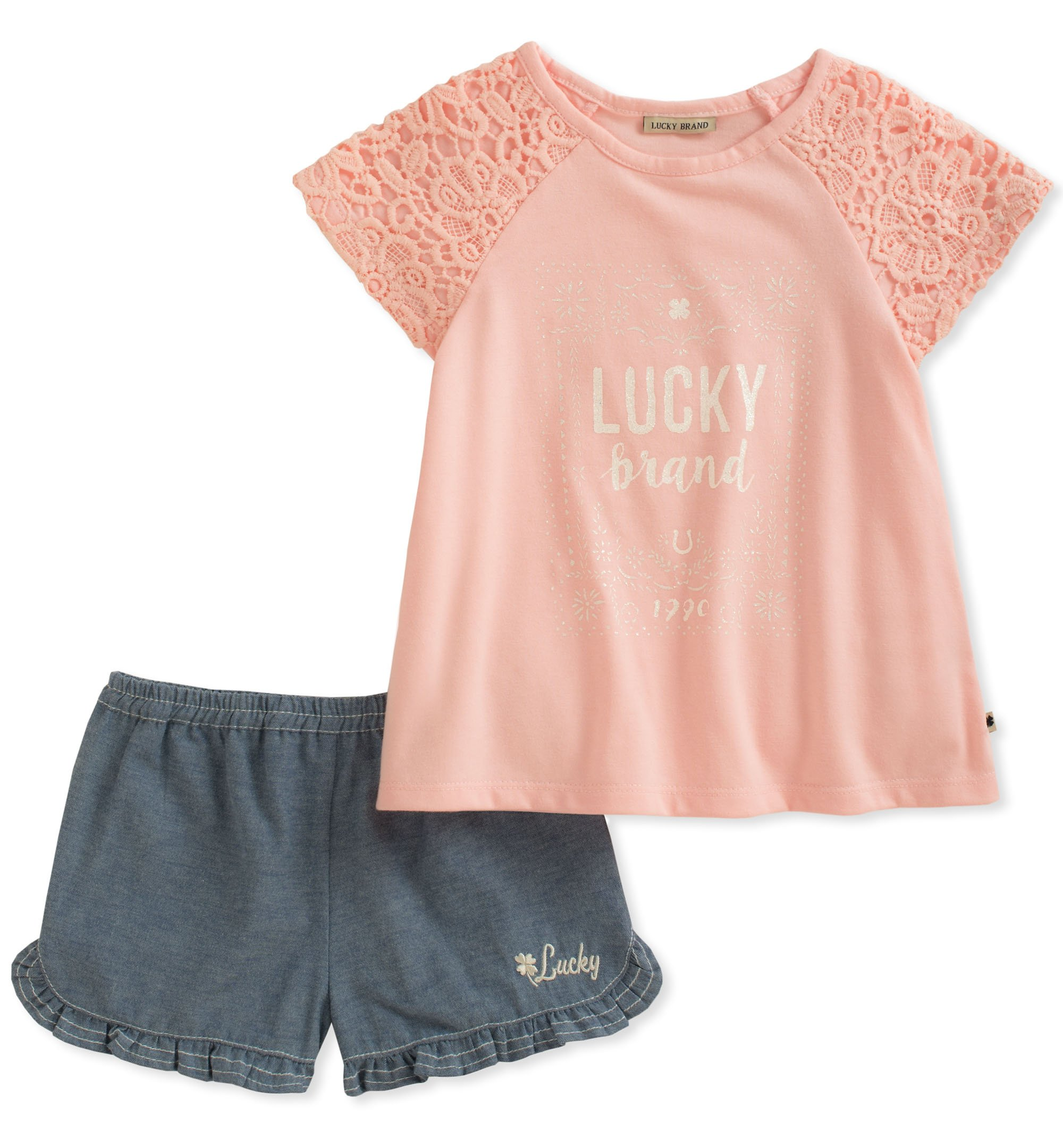 Lucky Brand Toddler Girls' Denim Shorts Set, Pink, 3T