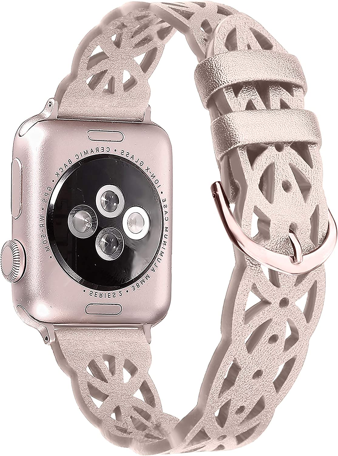Secbolt Hollowed-Out Leather Band 42mm 44mm Compatible with Apple Watch Bands iWatch Series 6/SE/5/4/3/2/1, Elegant Top-Grain Leather Wristband Strap Accessories for Women, Rose Gold