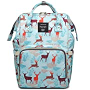Cute Backpack Waterproof Baby Diaper Bag for Girls Boys, Lightweight, Wide Open, Large Capacity Bookbag for Mom Dad (Light Blue Elk)