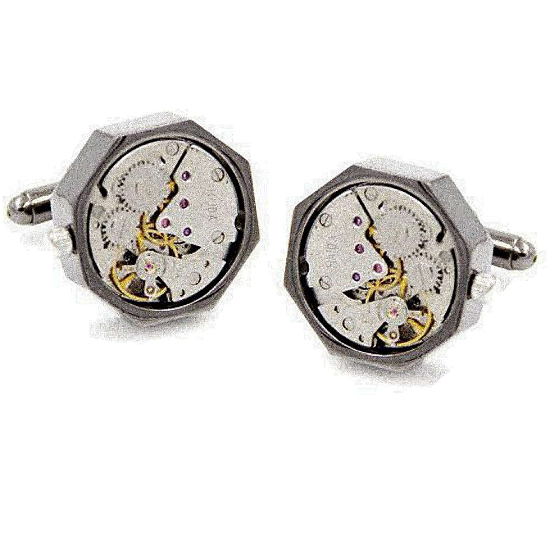 Rxbc2011 Men's Watch Movement Steampunk Style French Shirts Cufflinks 1 Pair Set