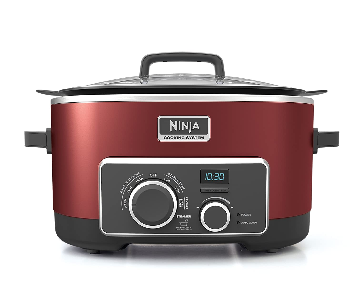 Ninja Multi-Cooker with 4-in-1 Stove Top, Oven, Steam and Slow Cooker Options, 6-Quart Nonstick Pot, and Steaming/Roasting Rack(MC950ZCN), Red