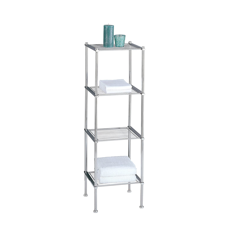 Organize It All 4 Tier Chrome Freestanding Bathroom Storage Shelf 16984W