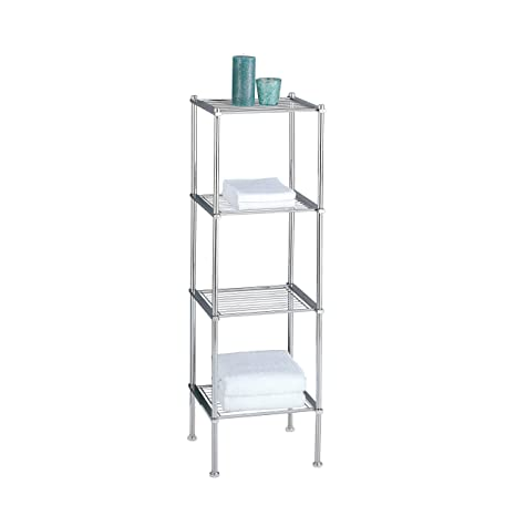 Organize It All 4 Tier Chrome Freestanding Bathroom Shelf