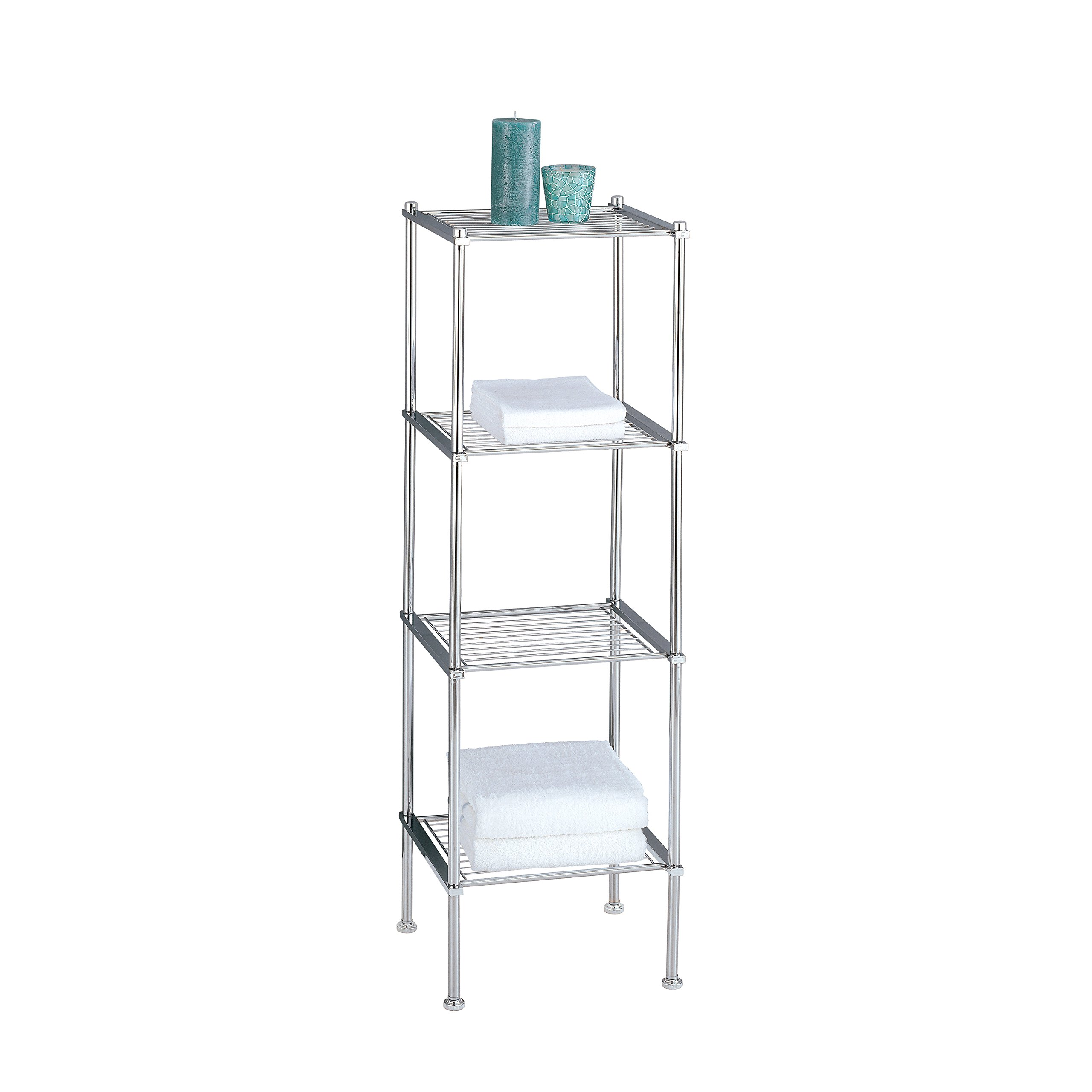 Organize It All 4 Tier Chrome Freestanding Bathroom Storage Shelf