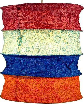 Guru-Shop Lámpara Redonda Para Colgar Papel, Pantalla de Papel Lokta Kailash, Papel Hecho a Mano - Azul/rojo, PapelLokta, 35x28x28 cm, Lámparas de ...