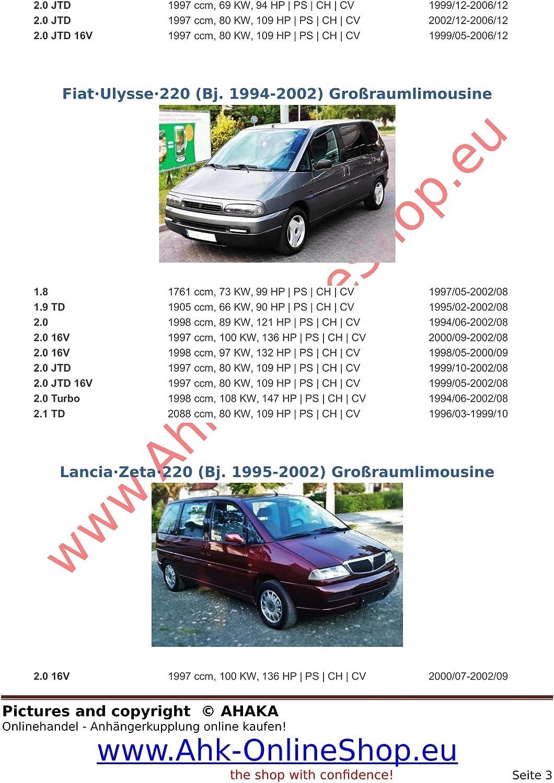 Fiat Scudo Peugeot Expert Attelage remorque avec Faisceau 7 broches col de cygne d/émontable avec outil Citroen Evasion Citroen Jumpy Fiat Ulysse Lancia Zeta de 1994 /à 2006 Peugeot 806