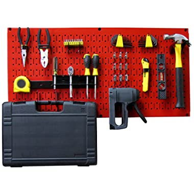 Wall Control Modular Pegboard Tool Organizer System - Wall-Mounted Metal Peg Board Tool Storage Unit for Pegboard Tiling (Red Pegboard)