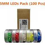5MM LED 5 Different Colors(100 pcs).It is Ideal for Your Arduino phototype Projects.Applications:Breadboard Experiment.Circuit Board Production.DIY Lighting Equipment. LED Decoration,Indicator Light.
