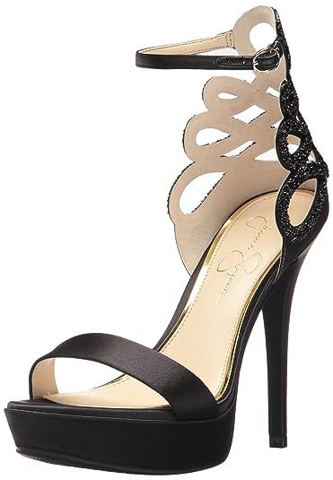 f9cb484f628f Jessica Simpson Women s BAYVINN Heeled Sandal Black Satin 8.5 Medium US