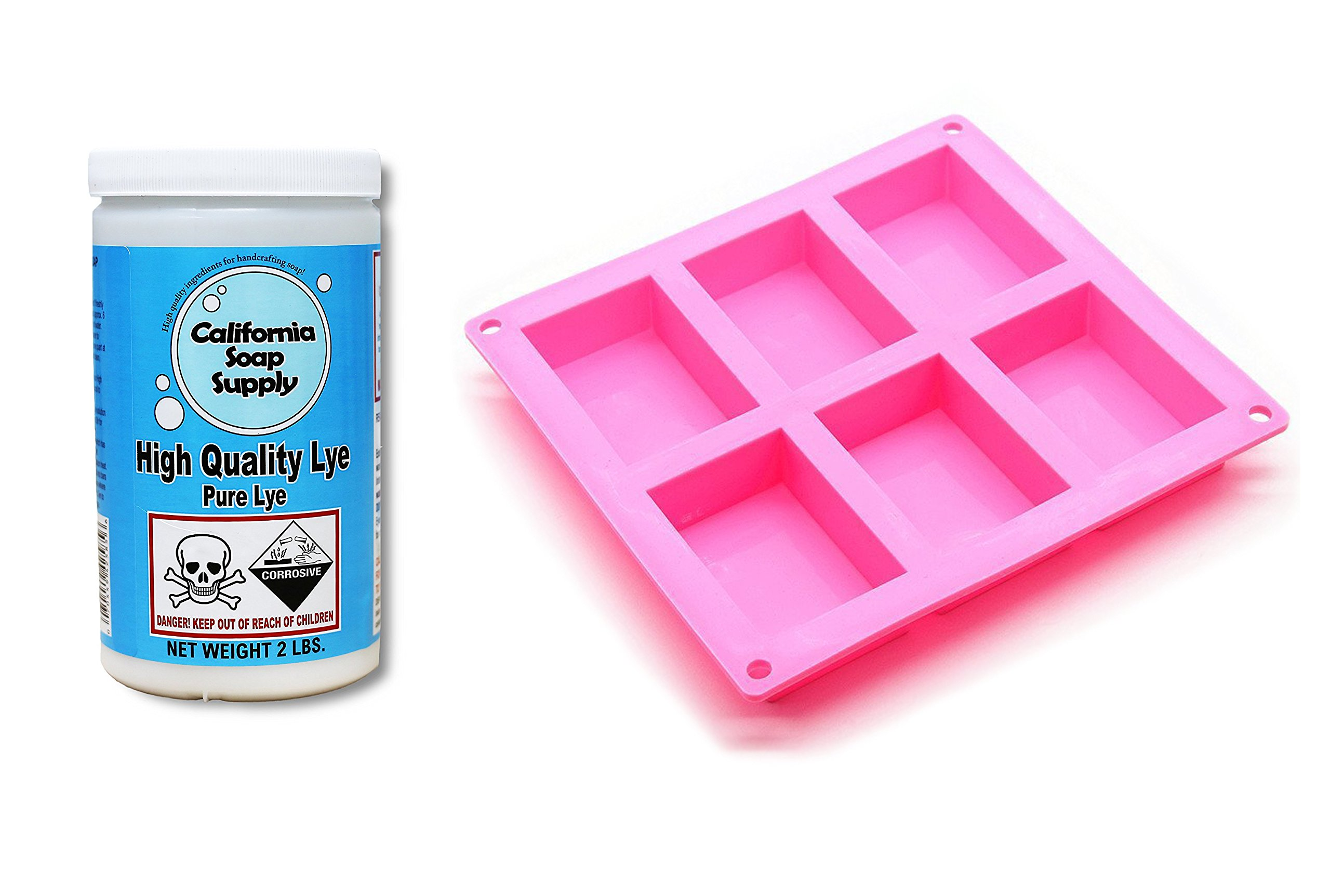 Pure Soap Making Lye, High Grade Sodium Hydroxide, 2 LBS, Great for soap Making, Drain Cleaning (+ FDA Approved Rectangle Silicone SOAP Mold) by California Soap Supply