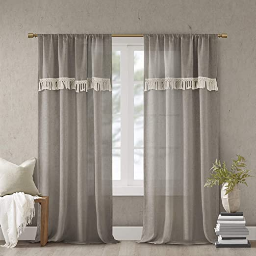 Amazon Com Madison Park Brynn Faux Linen Rod Pocket Window Curtain Panel With Attached Tassel Trim Valance Drape For Bedroom Living Room And Dorm 50 W X 84 L Taupe Home Kitchen