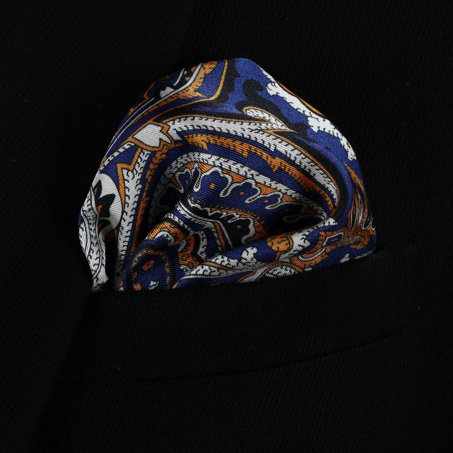 HISDERN Paisley Floral 100/% Natural Silk Printed Pocket Square Mens Fashion Classic Handkerchief