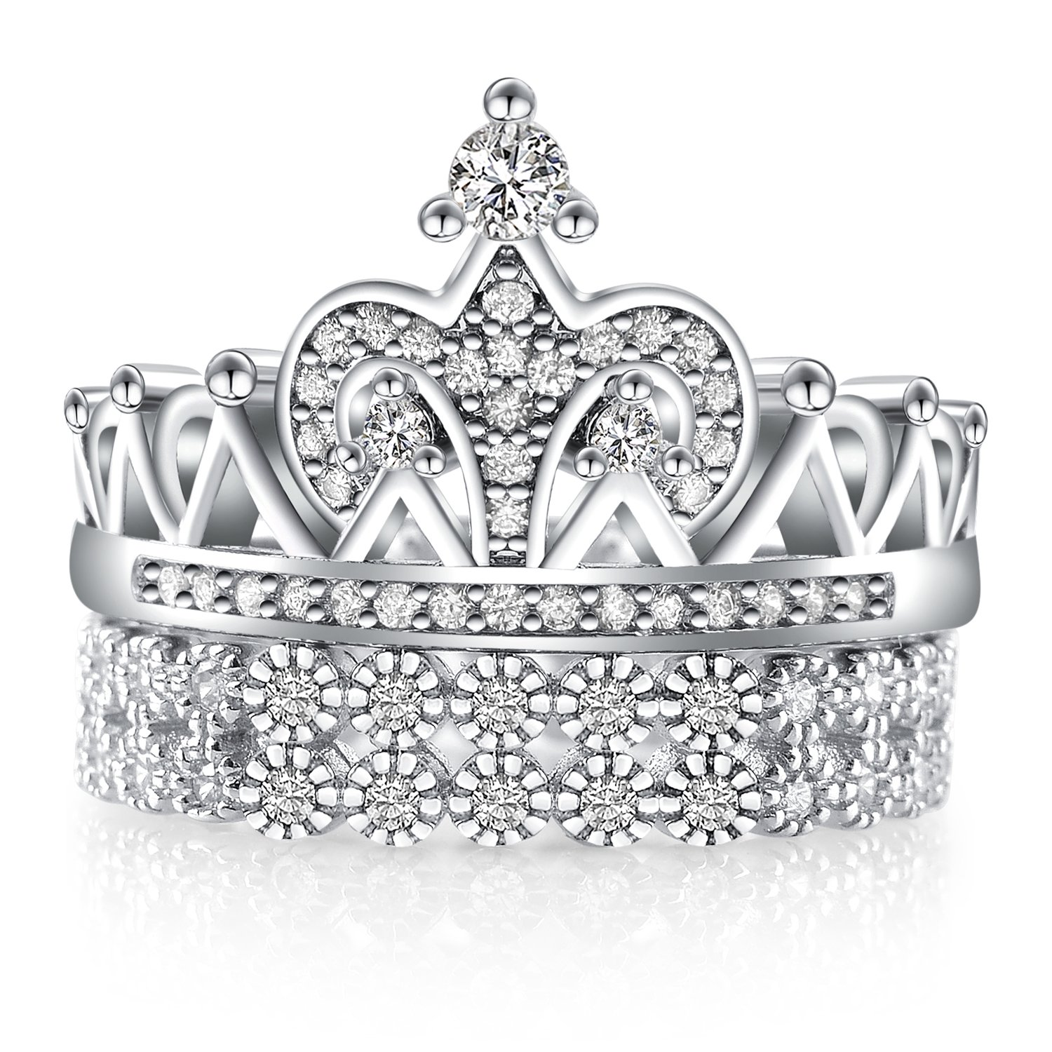 Platinum-Plated Sterling Silver Exquisite Crown Princess Band Noble Queen Wedding Rings Gifts 2PCS/Set