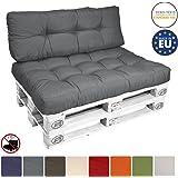Beautissu Cuscino per spalliera di divani per bancali o pallet ECO Style - 120x40x10-20cm schienale per divano - grigio