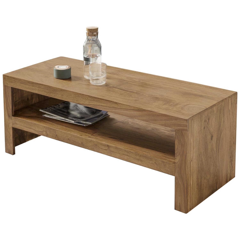 WOHNLING Couchtisch Massiv-Holz Akazie 110 cm breit Wohnzimmer-Tisch Design dunkel-braun Landhaus-Stil Beistelltisch Natur-Produkt Wohnzimmermöbel Unikat modern Massivholzmöbel Echtholz rechteckig