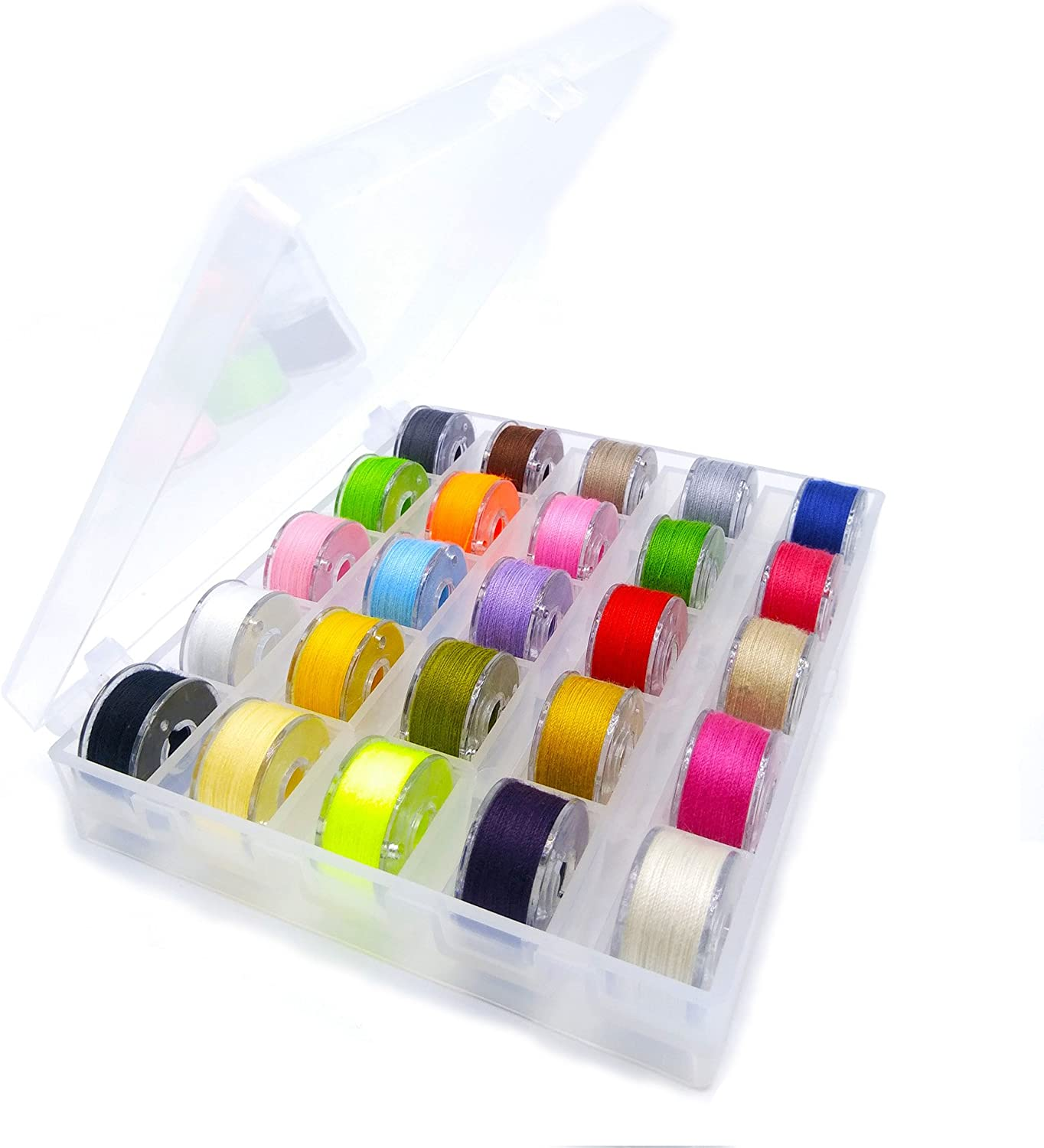 25 Pcs Plastic Sewing Machine Bobbins Transparent with Case and Measuring Tape for Brother Singer Janome Juki Kenmore