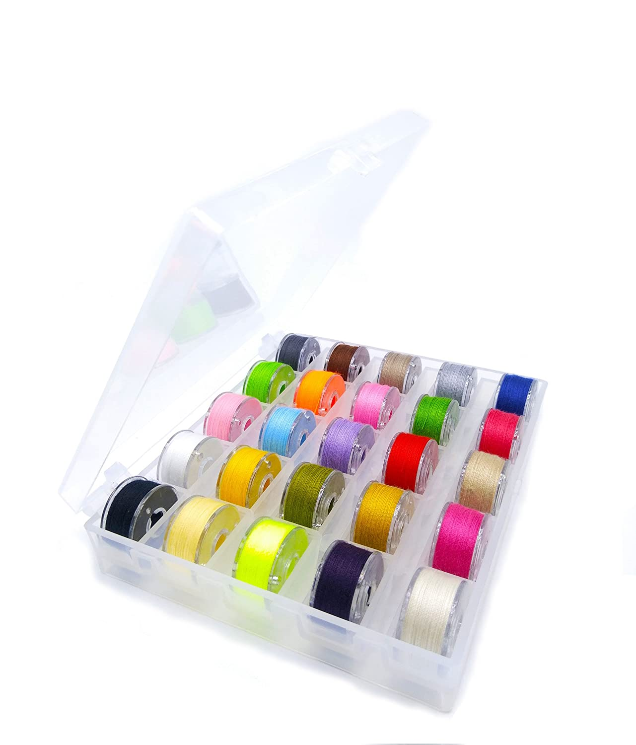JIANZHENKEJI Bobbins and Sewing Thread with Case for Brother Singer Babylock Janome Kenmore Black, 25
