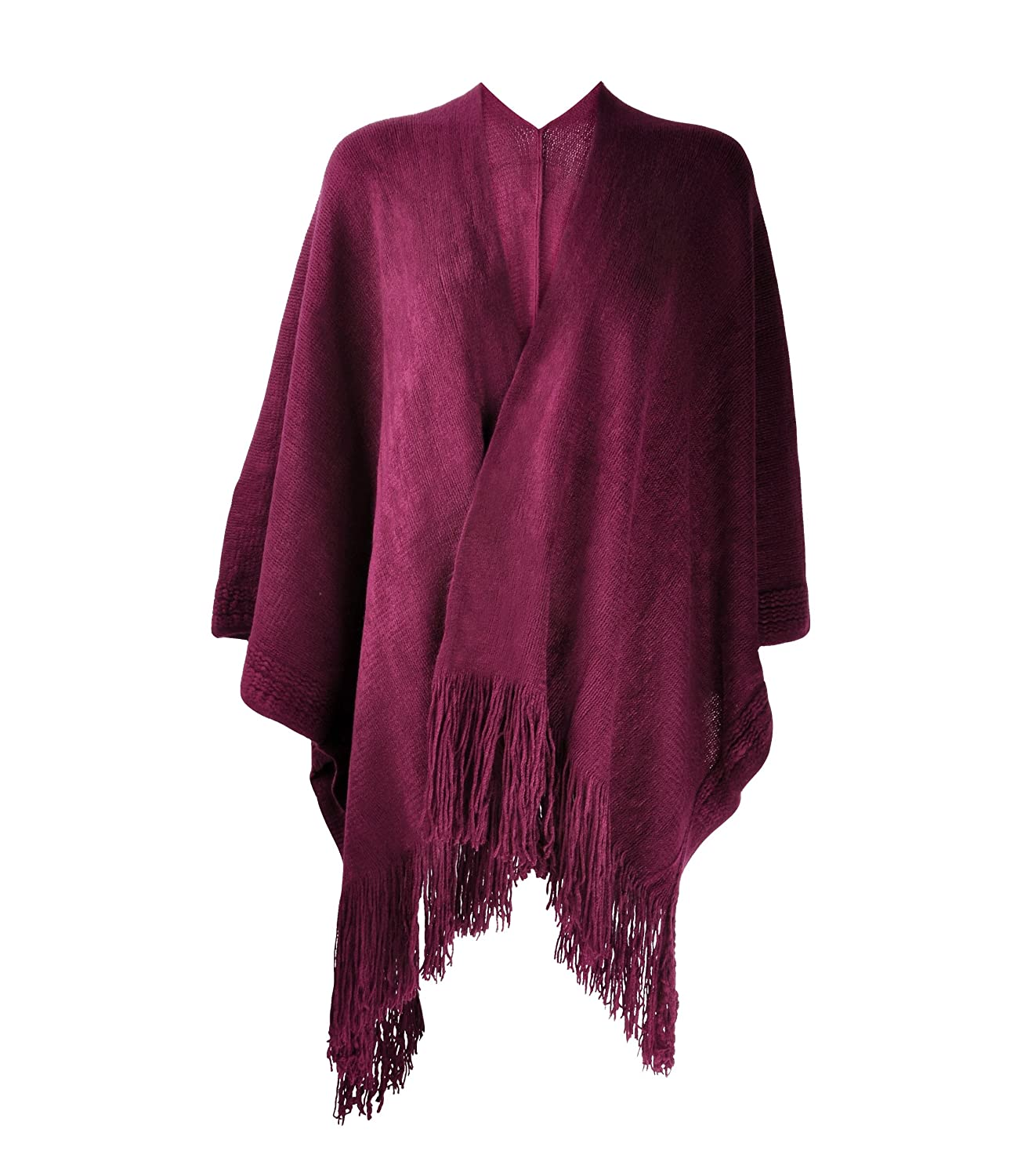 ZLYC Women Lightweight Soft Basic Draped Open Front Blanket Wrap Fringe Poncho Red JC-KW-0063-RD