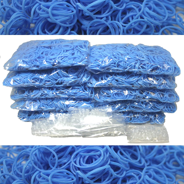 Blue Dot Trading 6000-Piece Light Blue Rubber Band Kids Craft with Rainbow Bracelet Kit Refill Pack BlueDot Trading