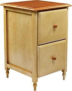 OSP Home Furnishings Country Cottage Collection File Cabinet in Buttermilk and Cherry Finish