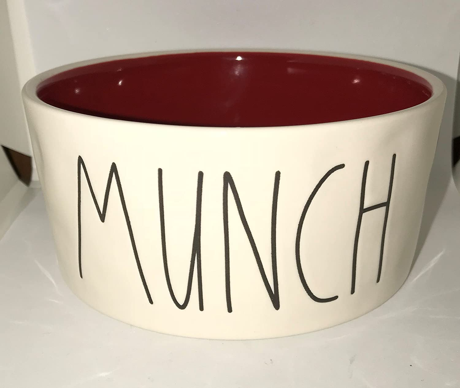 Rare Rae Dunn by Magenta Munch in Large Letters with Christmas Red Interior 6 inch Dog pet Bowl