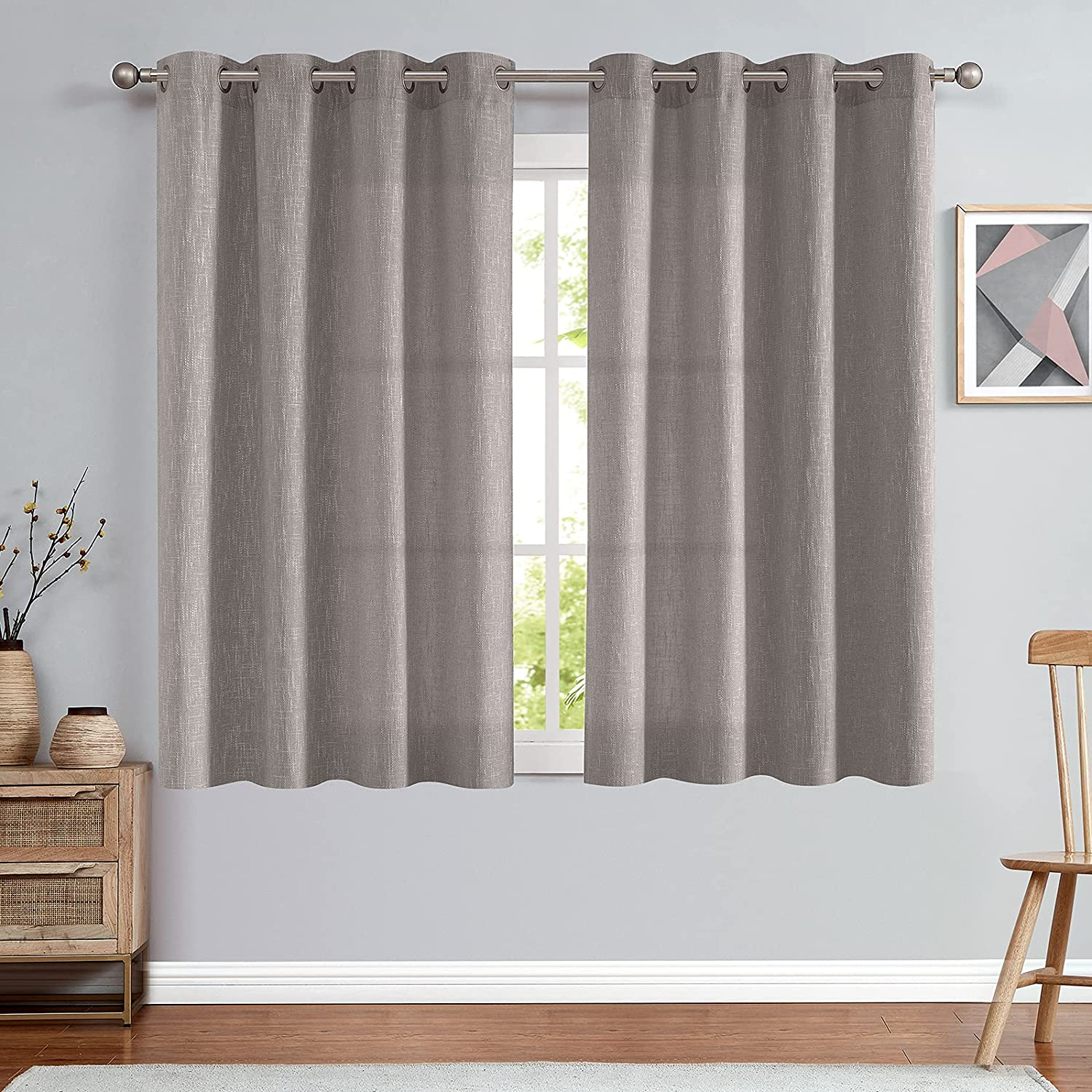 jinchan Linen Look Curtains Grommets Top for Living Room Window Treatment Set for Bedroom Drapes 52